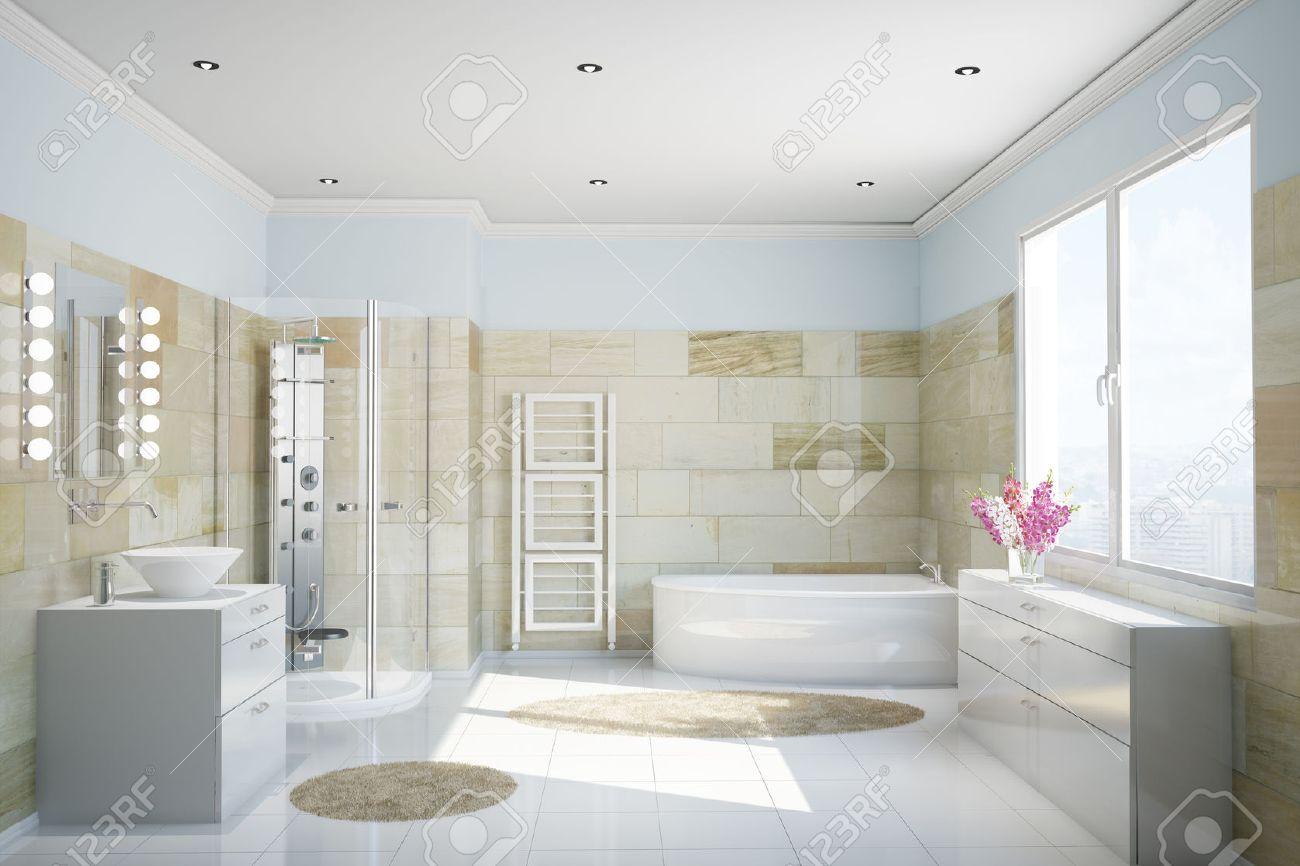 Clean Modern Bathroom With Terracotta Tiles And A Bathtub Stock ...
