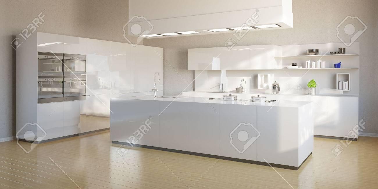 Nouvelle cuisine lumineuse avec îlot cuisine moderne blanc Banque d'images - 55681399
