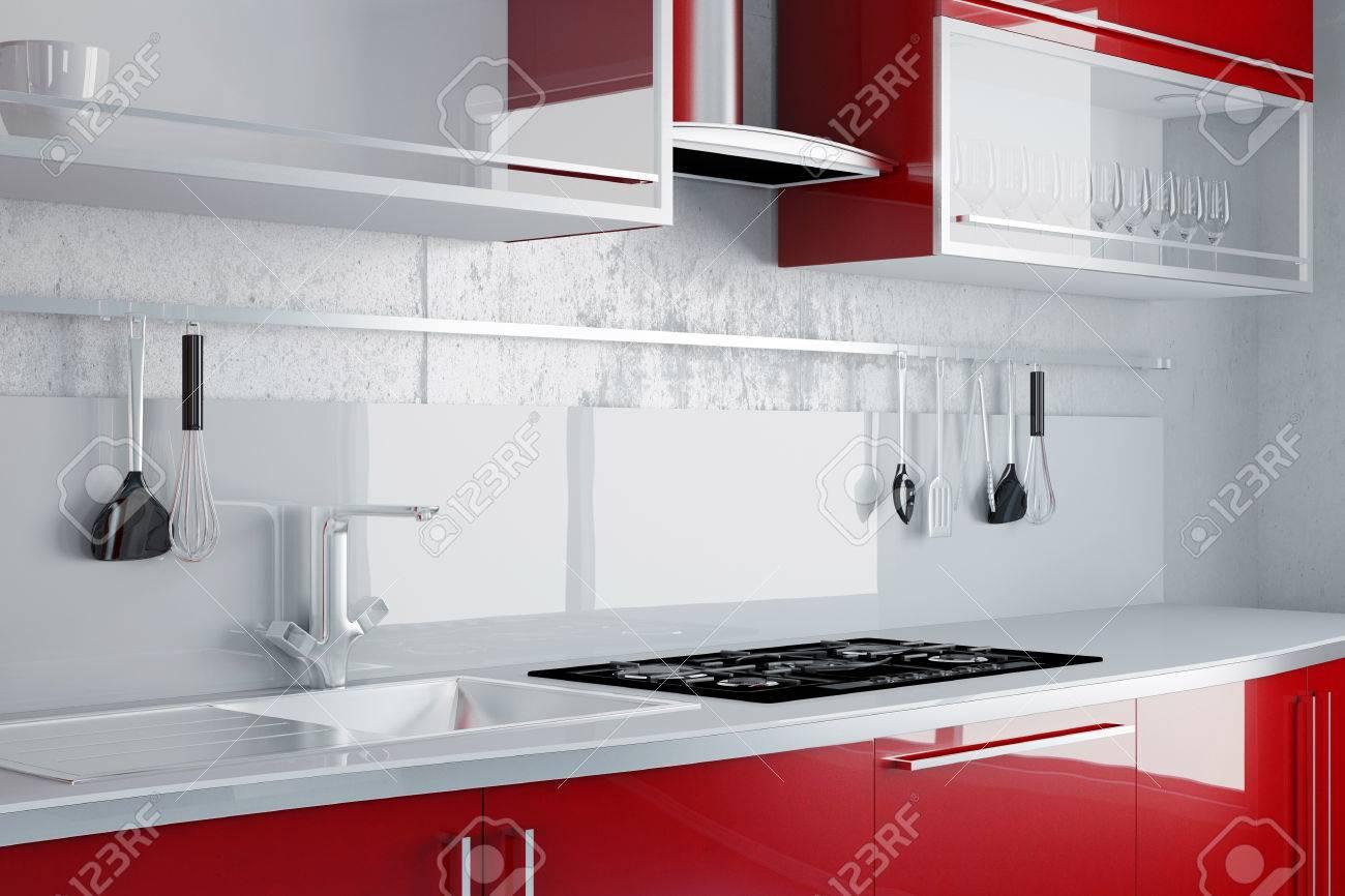 Häufig Neue Rote Küche Mit Spüle Und Herd An Einer Wand Lizenzfreie Fotos UJ65