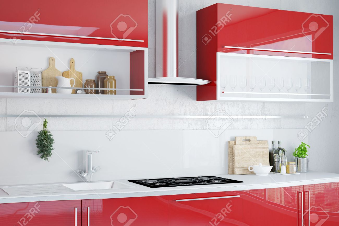 Interior of clean kitchen with modern red kitchenette Banque d'images - 55799807