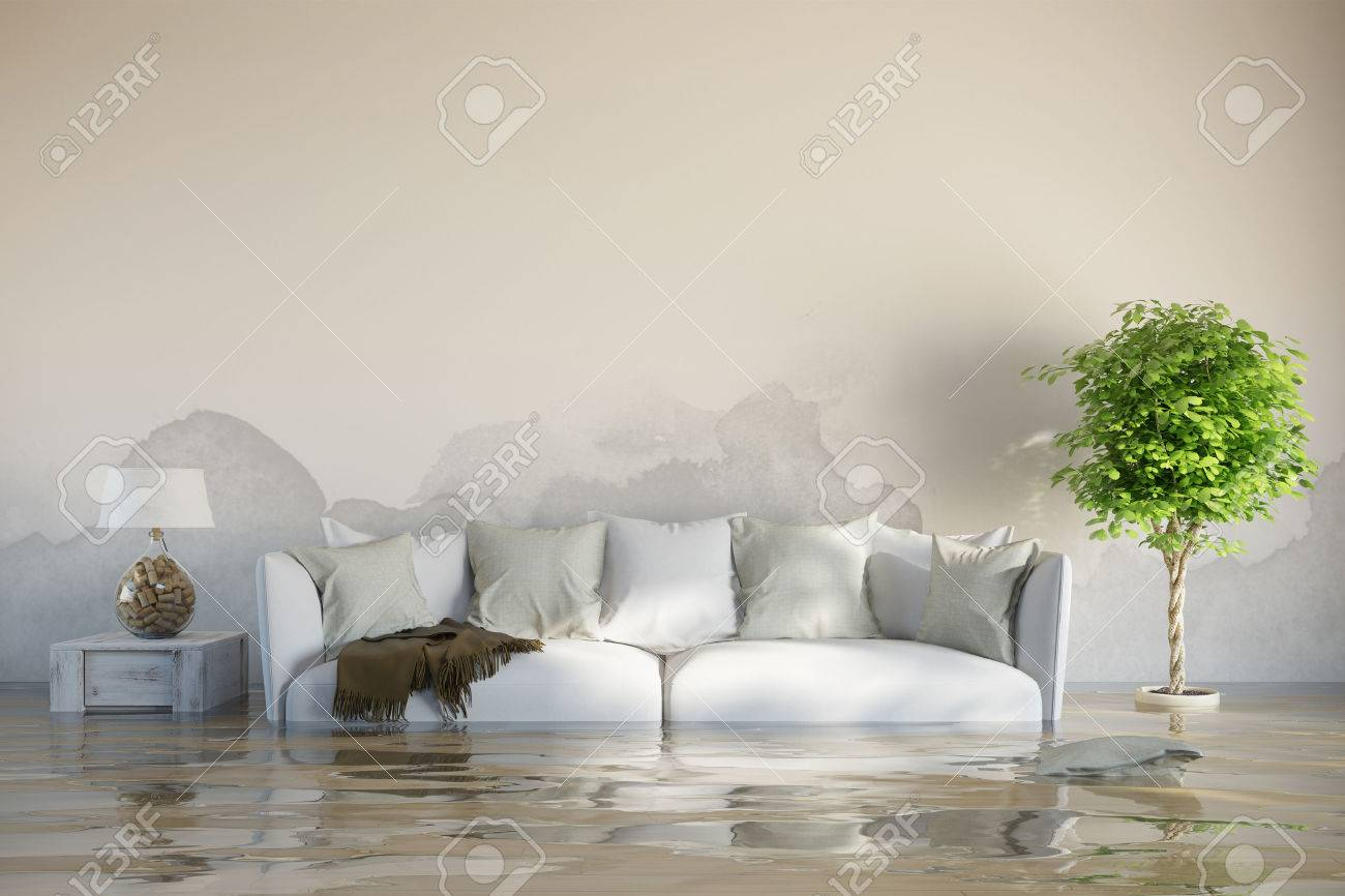 Water damage in house after flooding with stains on the wall Standard-Bild - 55681469