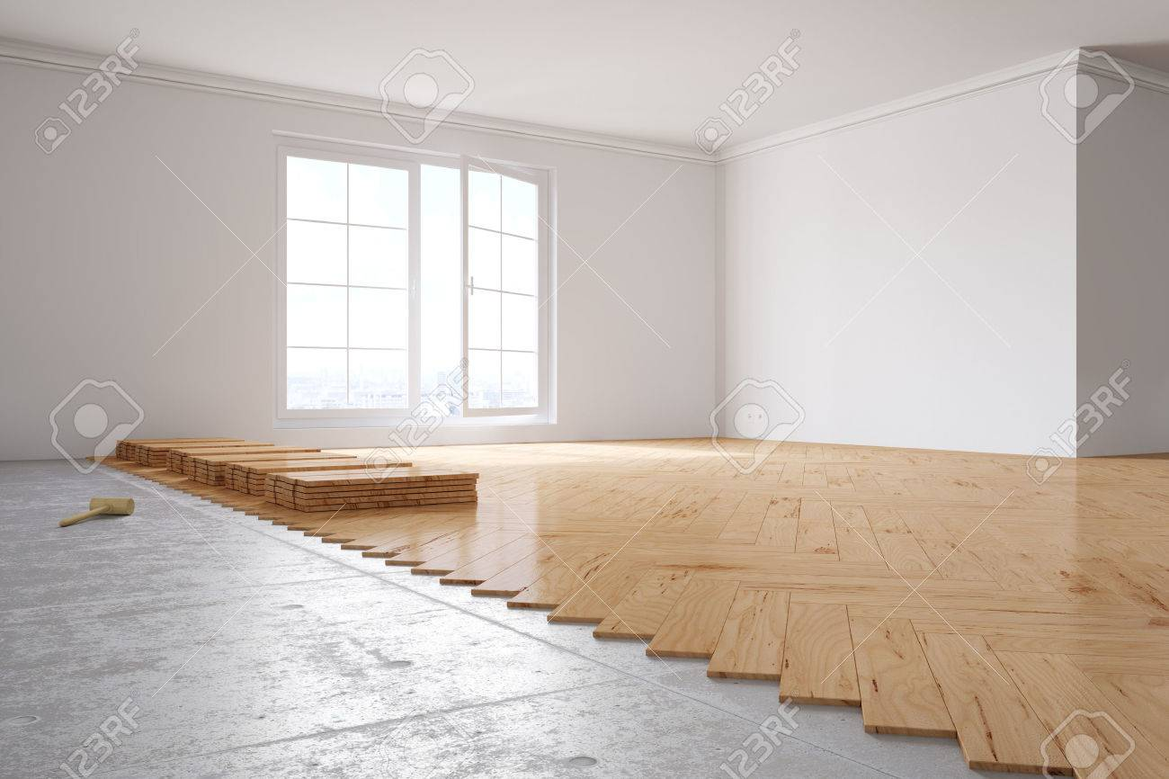 Laying out poplar hardwood in room in a house - 55681500