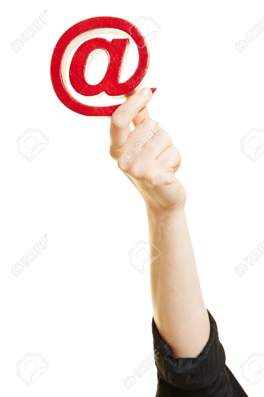 Hand Holding At Sign As Symbol For Email And Internet Stock Photo