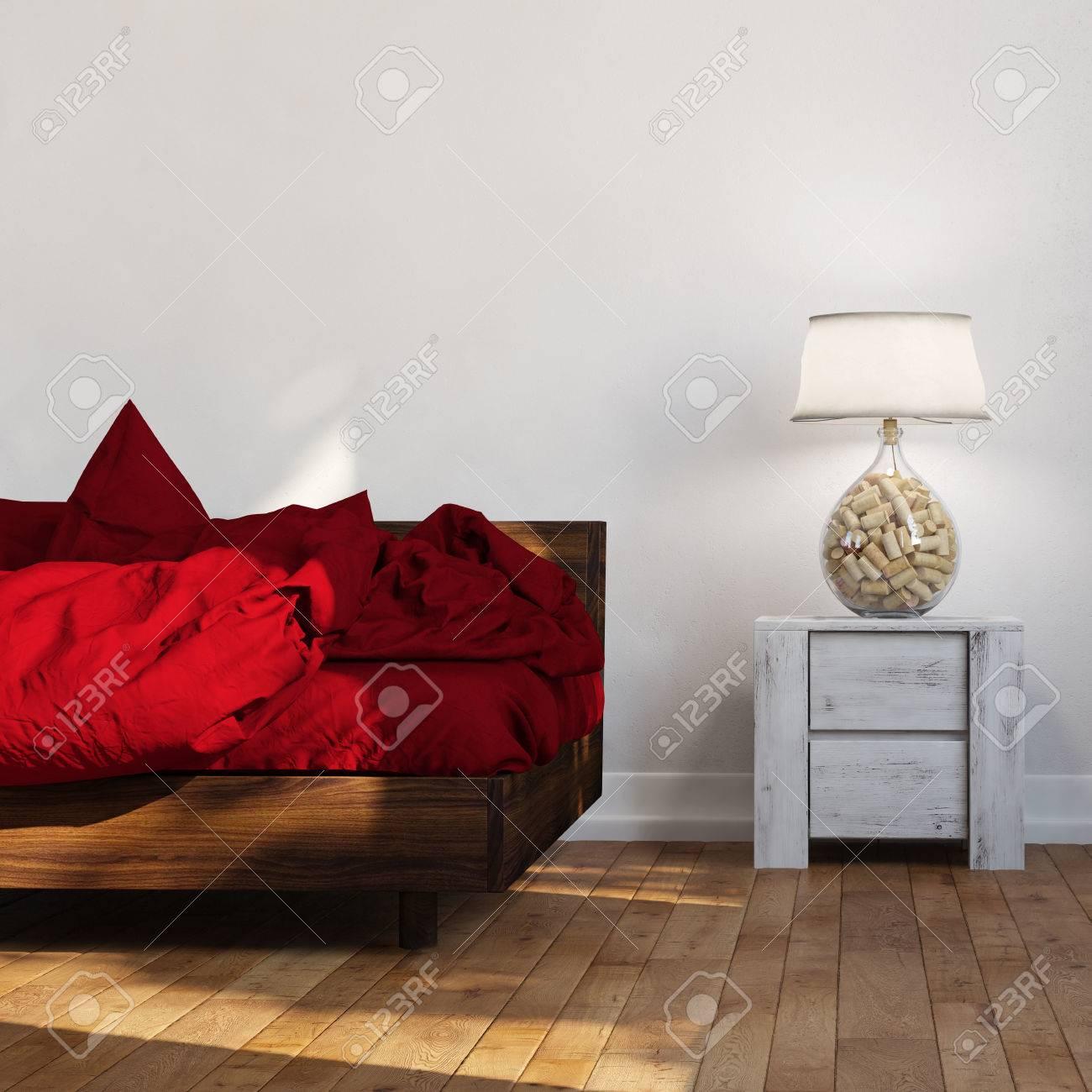 coté nuit linge de lit Lit Avec Debout Linge Rouge à Côté Table De Nuit Avec Lampe (rendu  coté nuit linge de lit