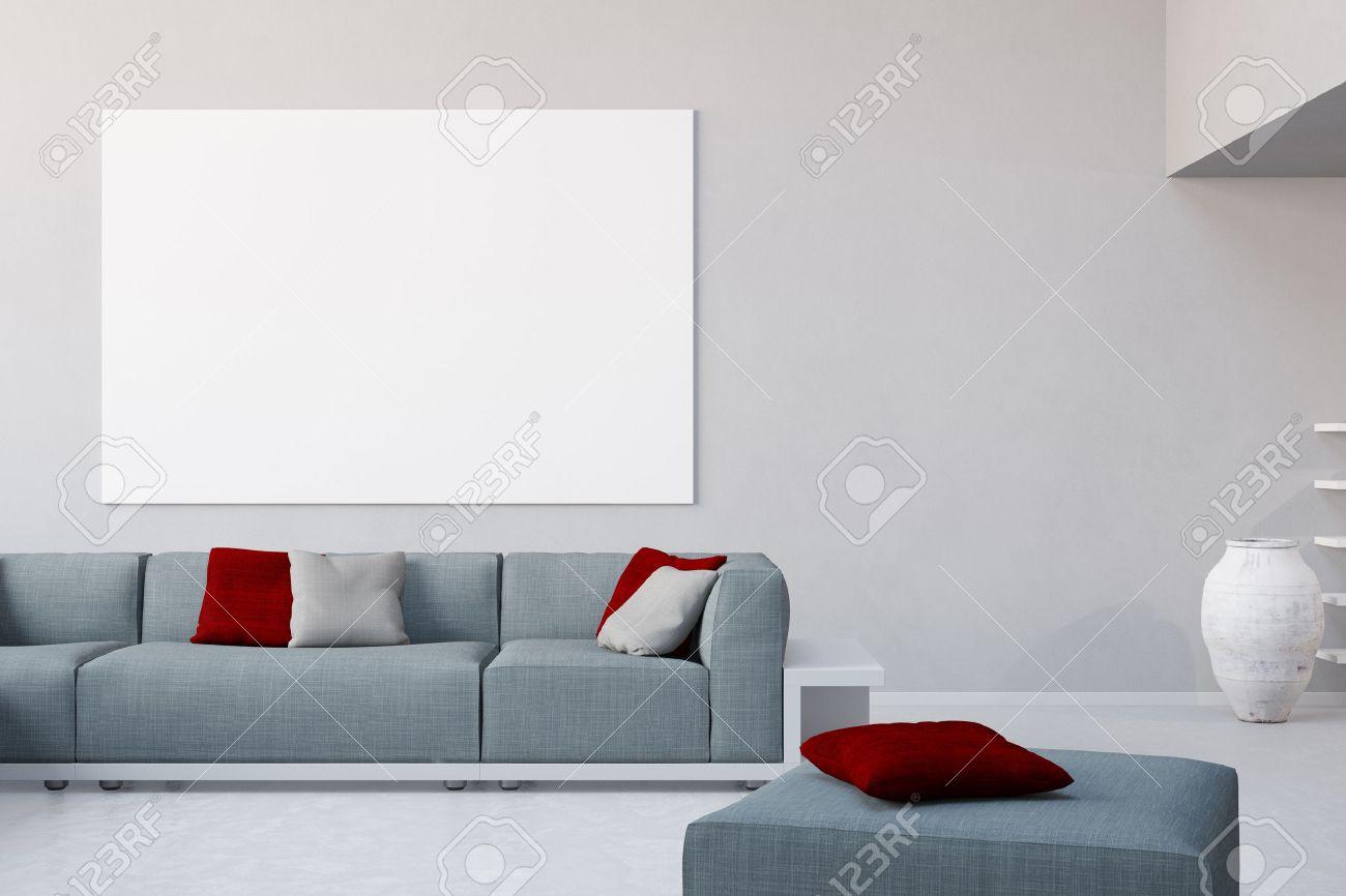 toile blanche sur le mur dans le salon sur le canapé dans un loft Banque d'images - 57526025
