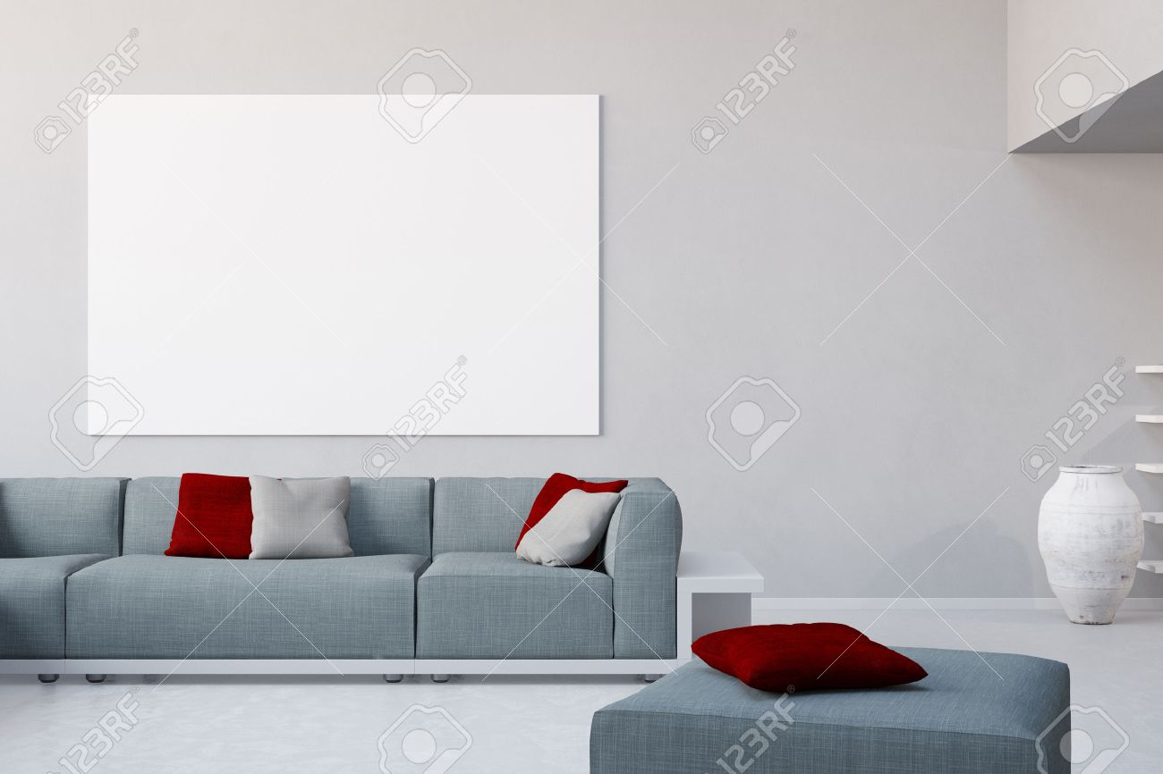 White Canvas On Wall In Living Room Over The Sofa In A Loft Stock ...