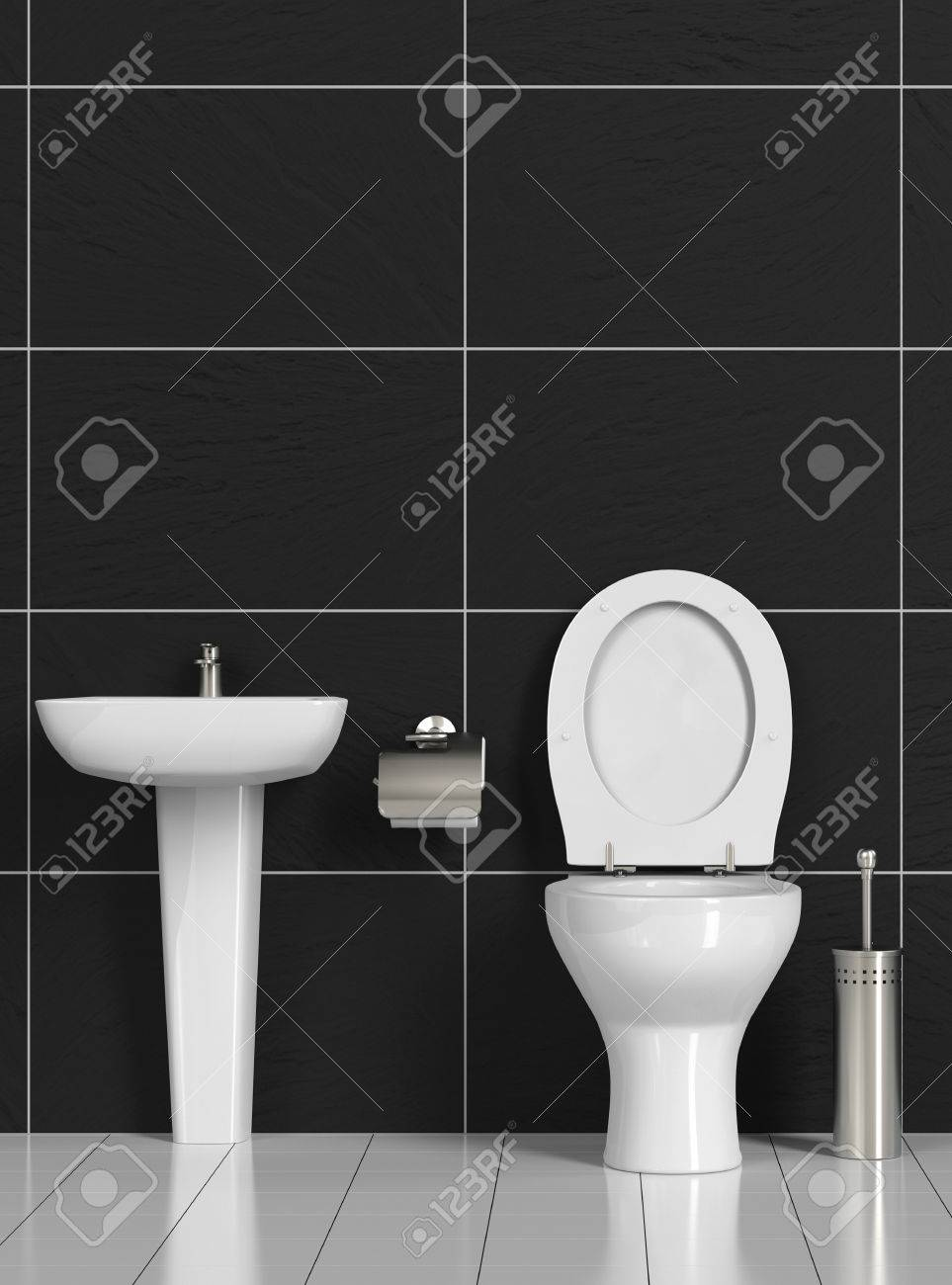 Clean WC With Sink And Toilet And Black Tiles 3D Rendering Stock