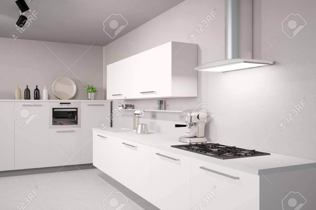 Standard Bild   Weiße Neue Küche Mit Theke Und Abzugshaube