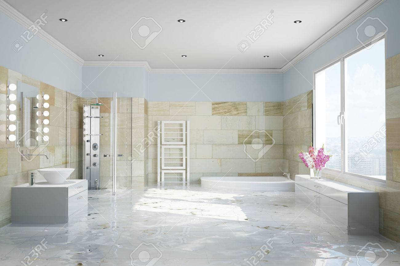 Flooding In Terracotta Bathroom With Water Damage (3D Rendering) Stock  Photo   57526073