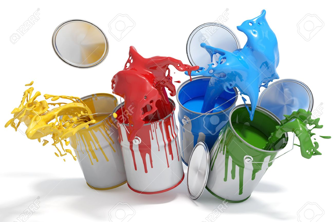 Four paint cans splashing different bright colors - 57526077