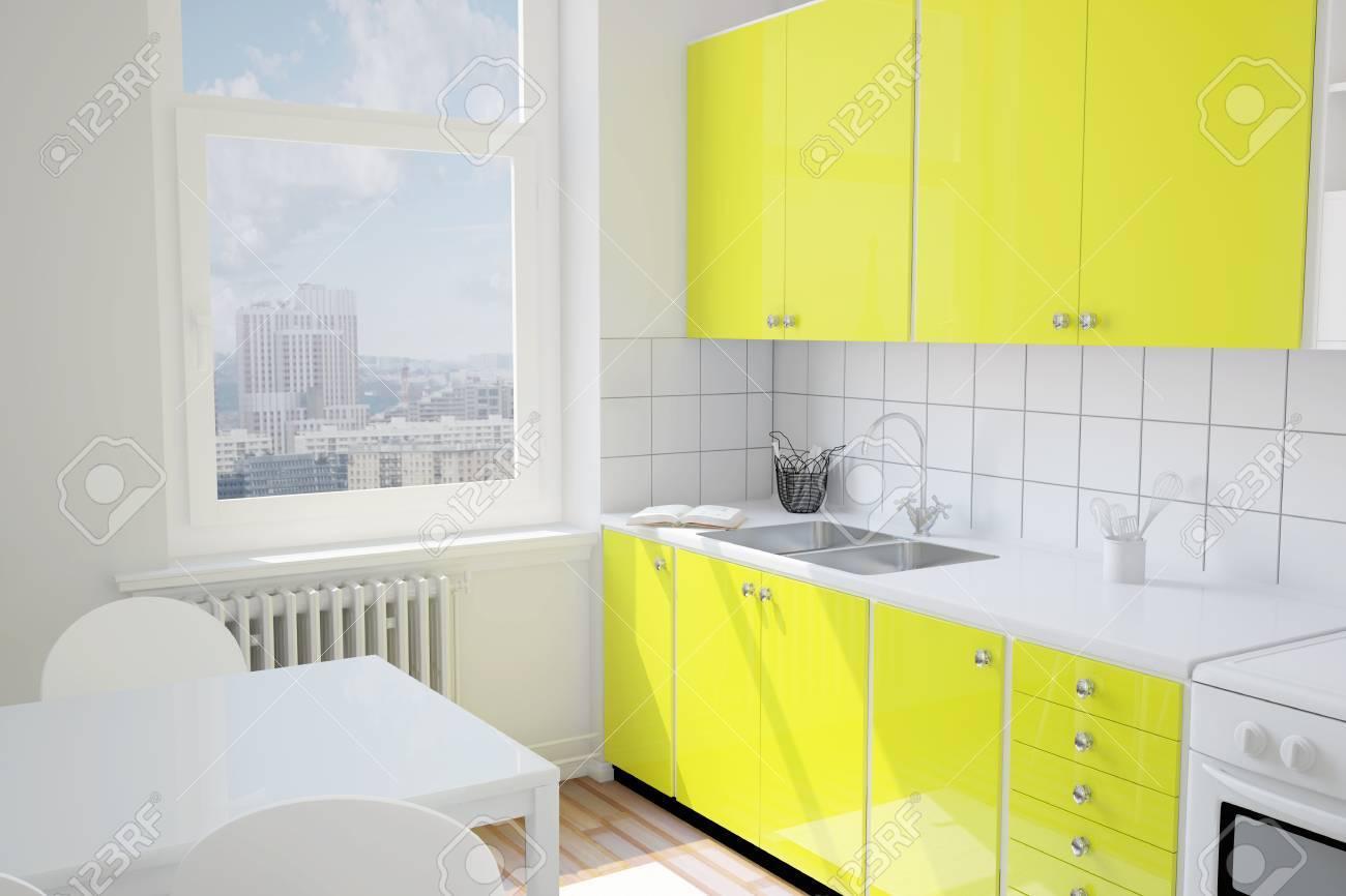 Cocina Con Mesa Pequeña De Color Amarillo En Un Apartamento Fotos ...