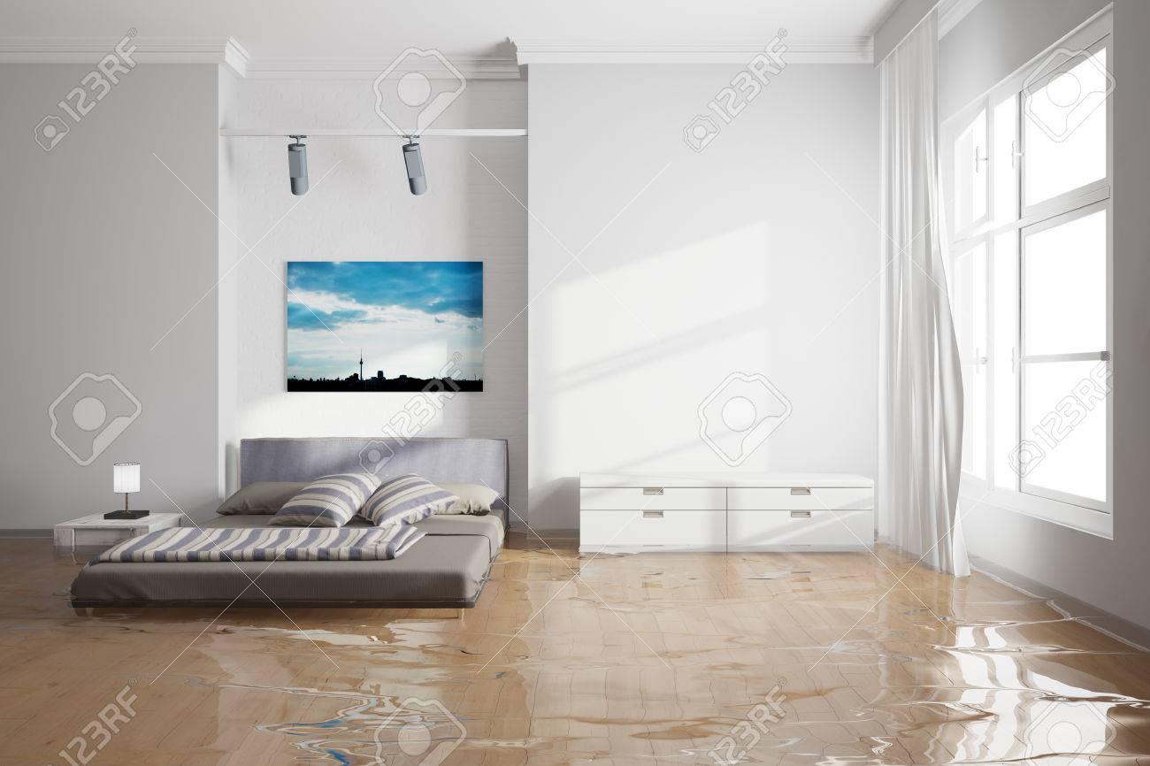 Water damage in bedroom after leak with wet bed Standard-Bild - 57526112