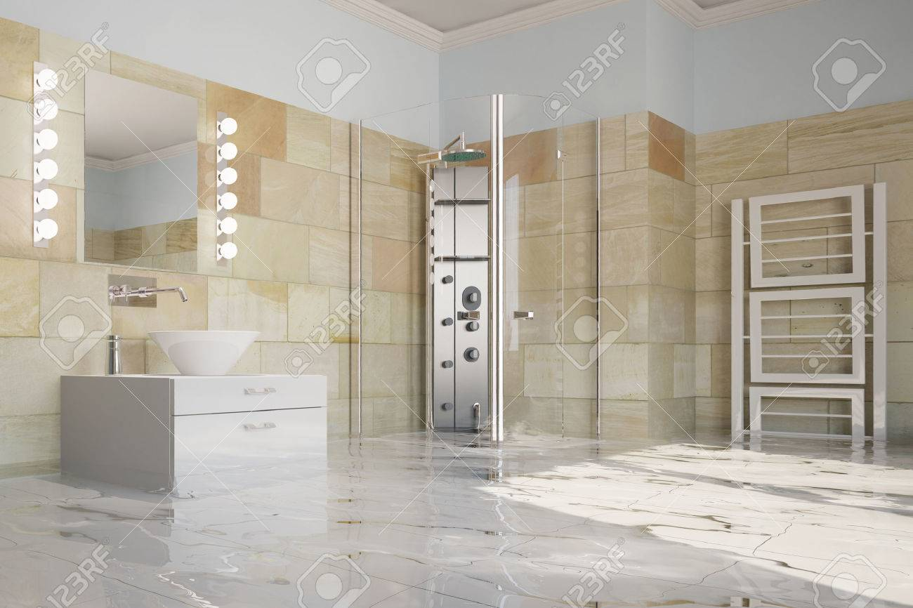 Flooding Of Bathroom After Water Leak With Water On The Floor Stock ...
