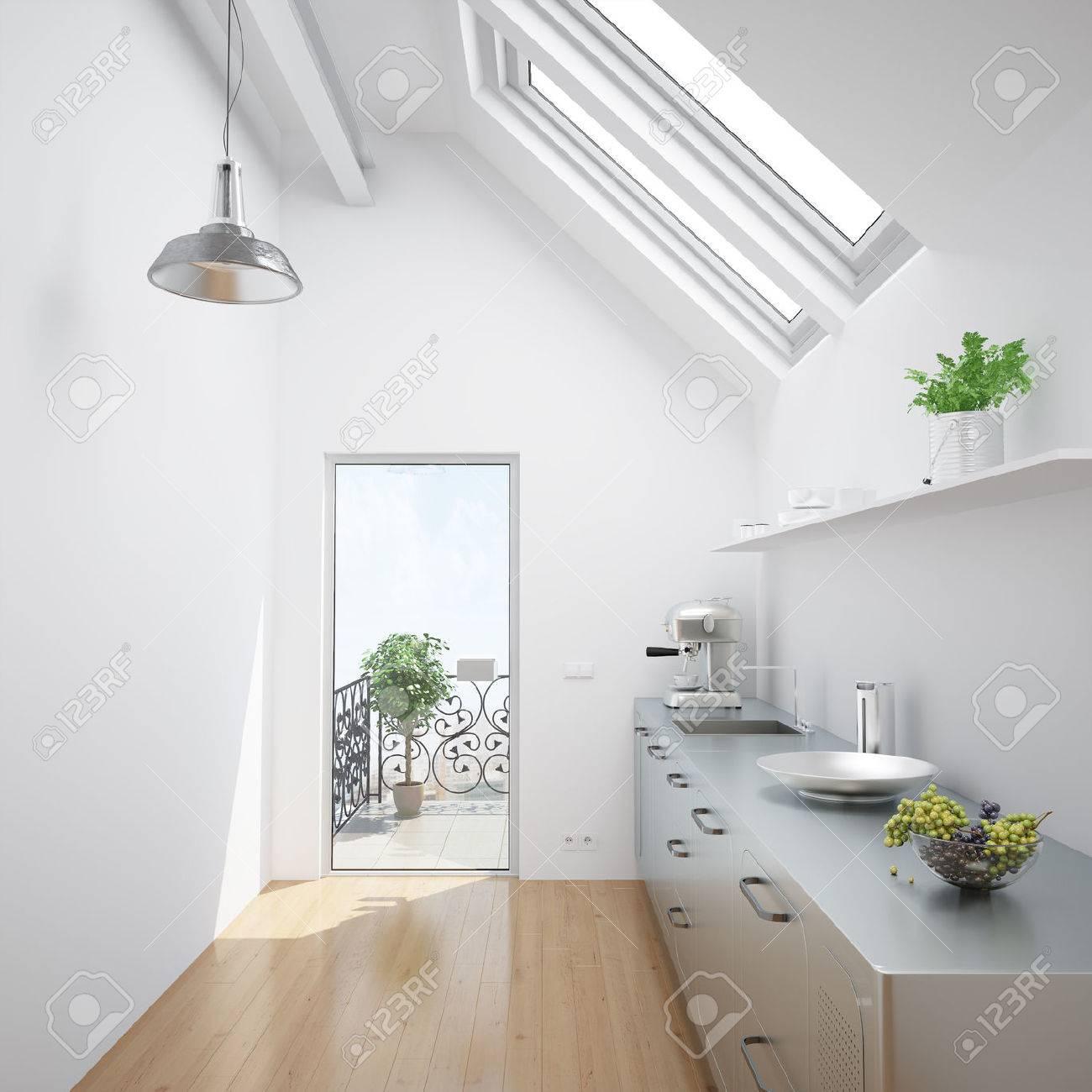 Bright White Kitchen In An Small Attic Apartment Stock Photo