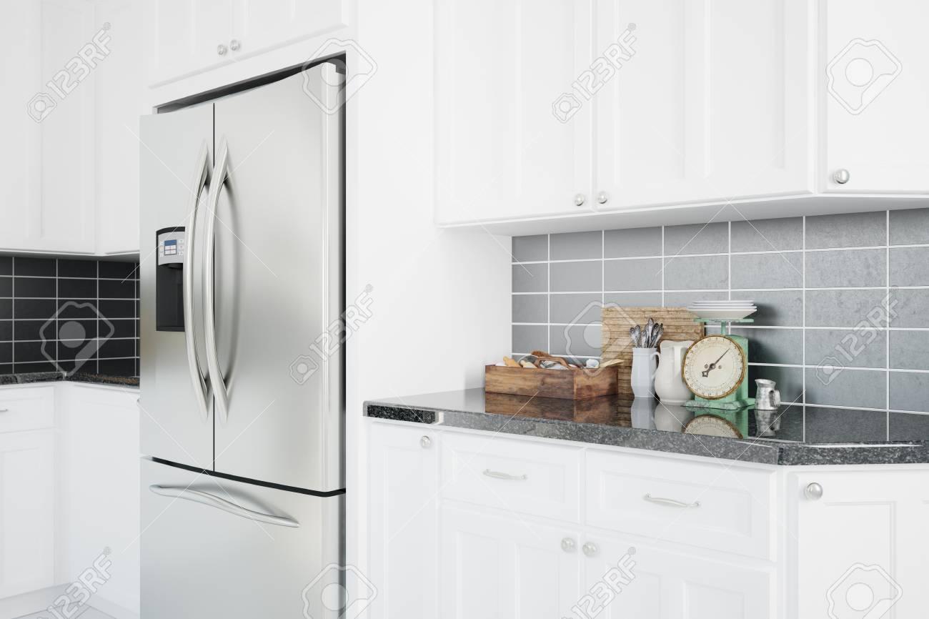 Moderne Kühlschrank In Einem Sauberen Weißen Küche Mit Theke (3D Rendering)  Standard