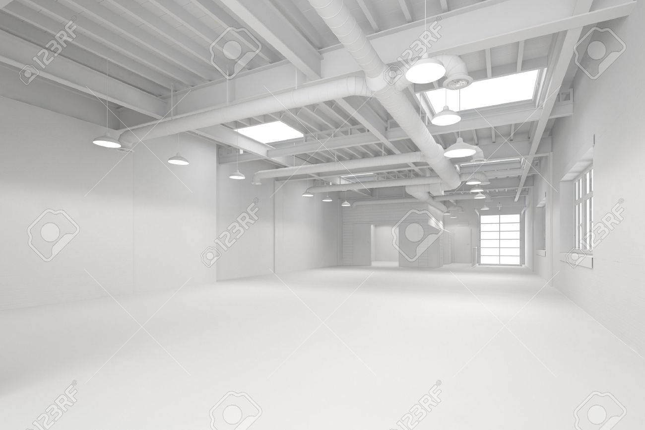 office and warehouse space. Stock Photo - White Big Clean Empty Industrial Hall As Warehouse Or Office Space (3D Rendering) And