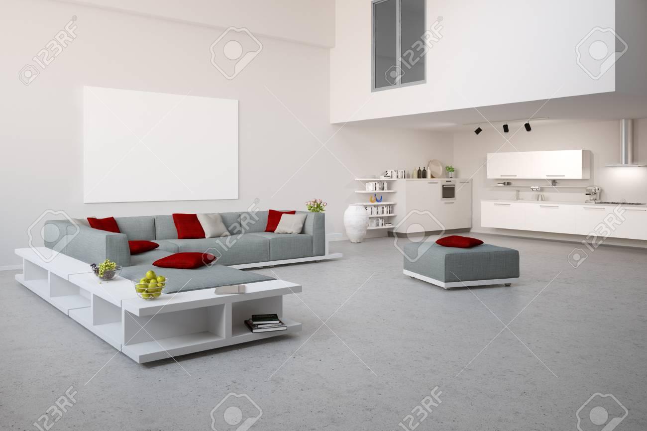 Loft moderne avec canapé gris et blanc cuisine vivante (rendu 3D)