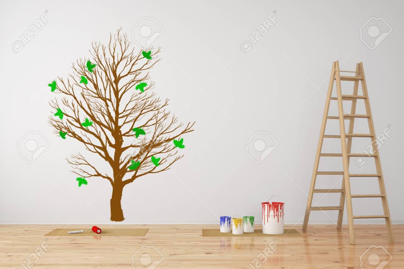 Arbre En Guise De Decoration Murale Dans Une Piece Lors D Une
