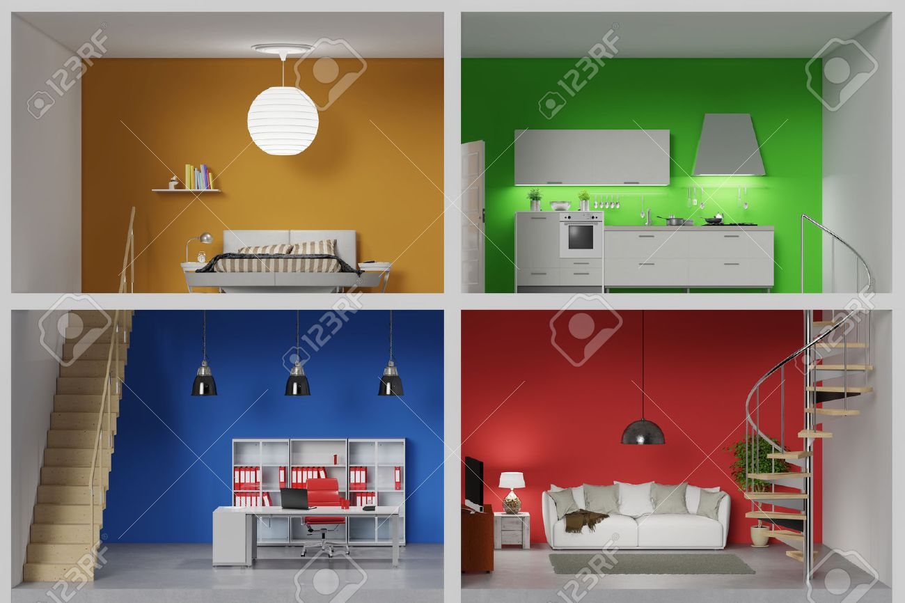 Apartment with four colorful rooms in a living box (3D Rendering) Banque d'images - 56878706
