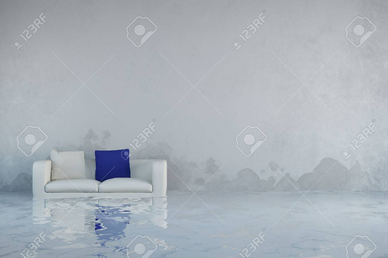 Water damage after flooding in house with mold on walls (3D Rendering) Banque d'images - 57526736