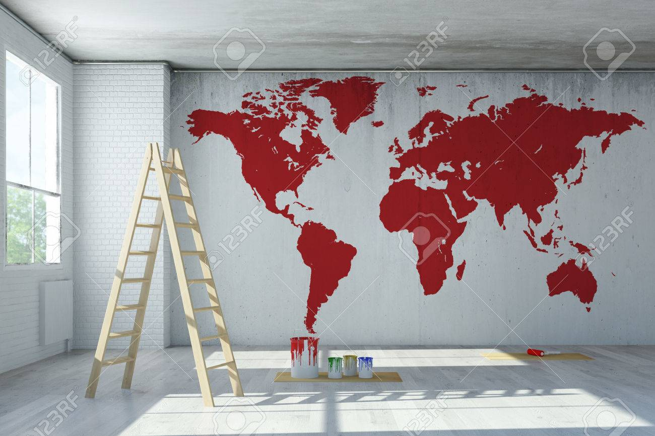 World Map Painting On Wall