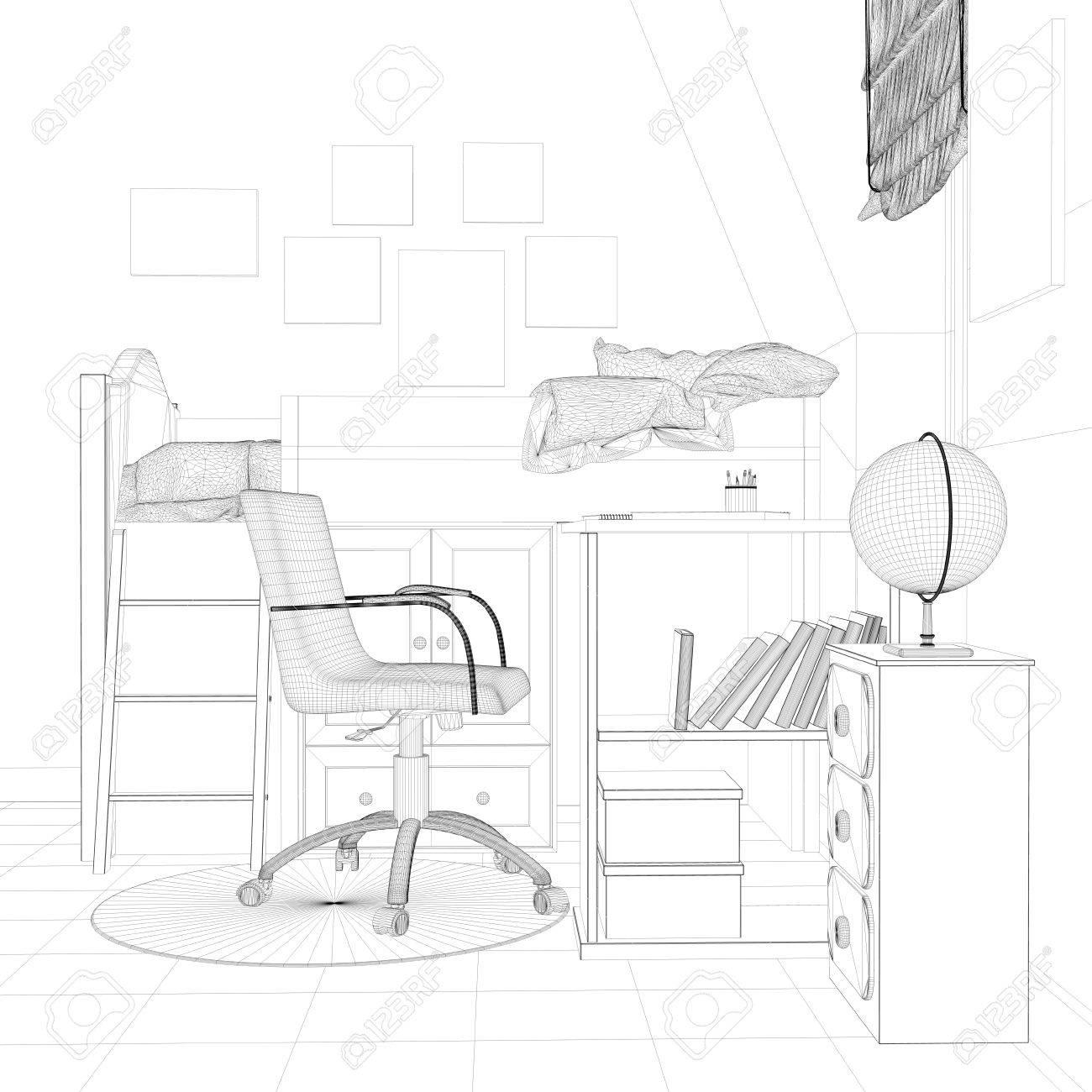 Estructura Metálica Esbozo De Vivero Con Escritorio Y Cama 3d