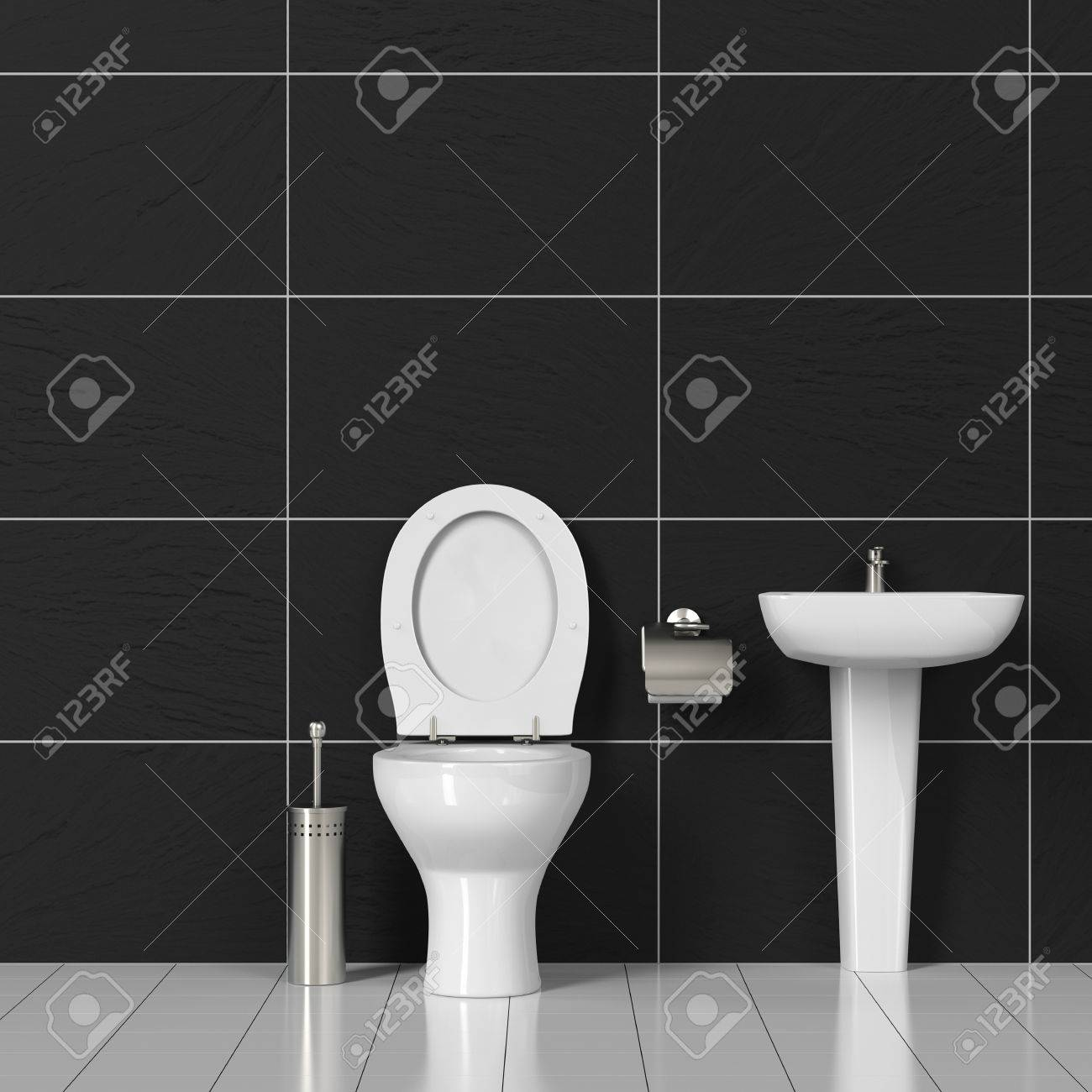 Toilet And Sink In A WC Bathroom With Black Tiles (3D Rendering ...