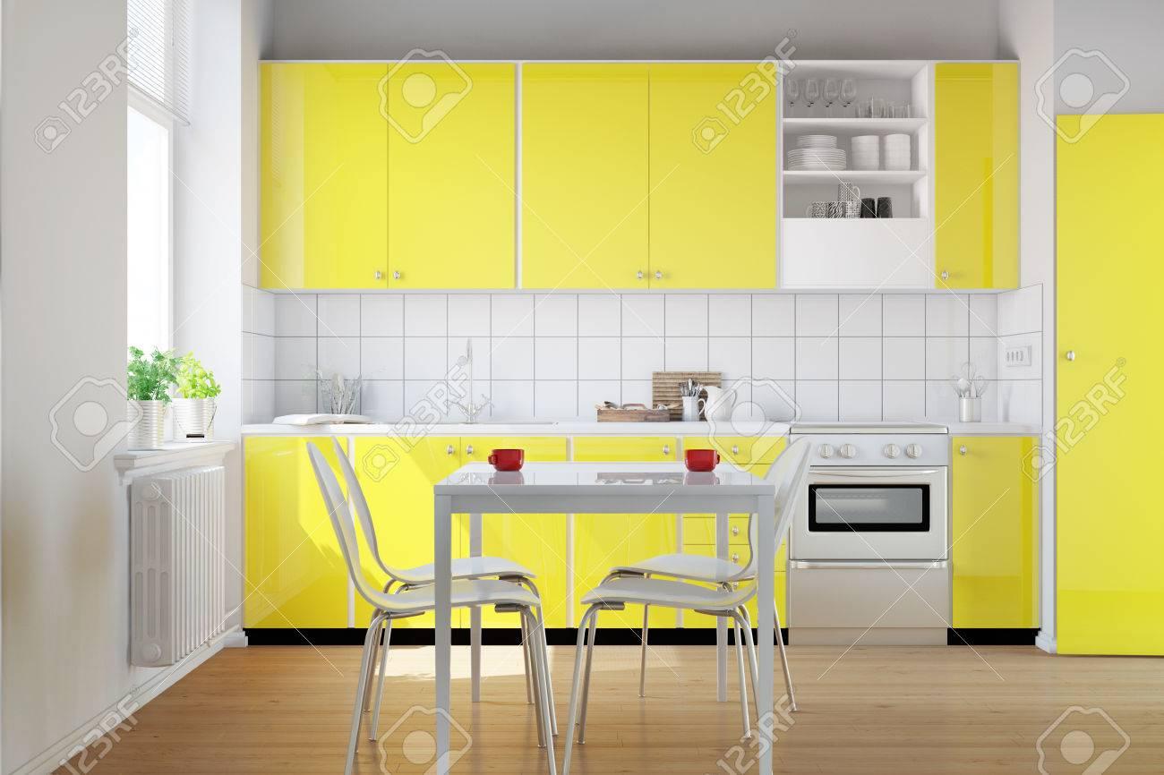 Cocina Amarilla En Una Pequeña Cocina Con Mesa De Desayuno (3D ...