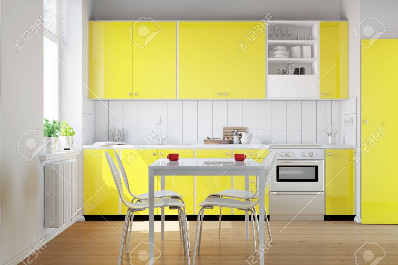 Gelbe Küche In Einer Kleinen Küche Mit Frühstückstisch (3D-Rendering ...