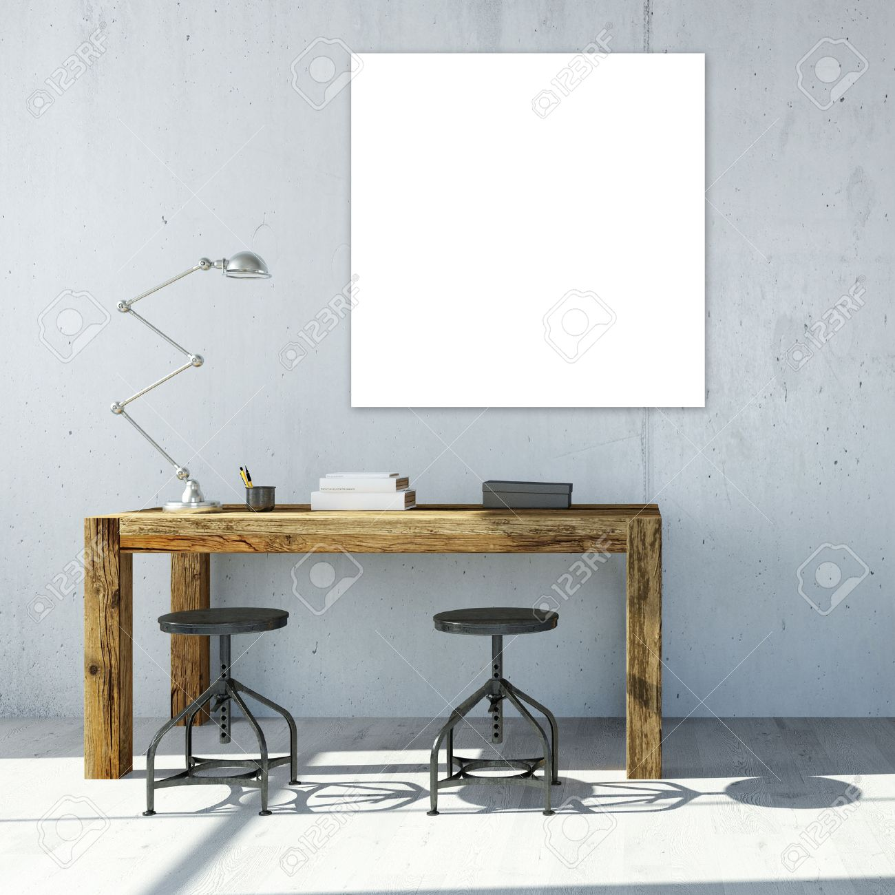 White empty square canavas hanging on wall in office (3D Rendering) Standard-Bild - 57526808