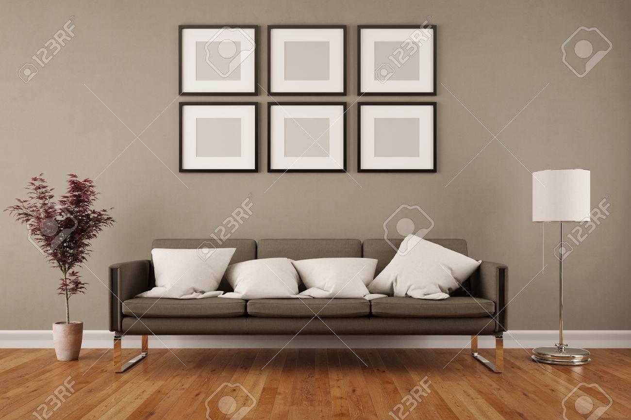 Pared Con Seis Marcos Vacíos En La Sala De Estar Bajo Un Sofá (3D ...
