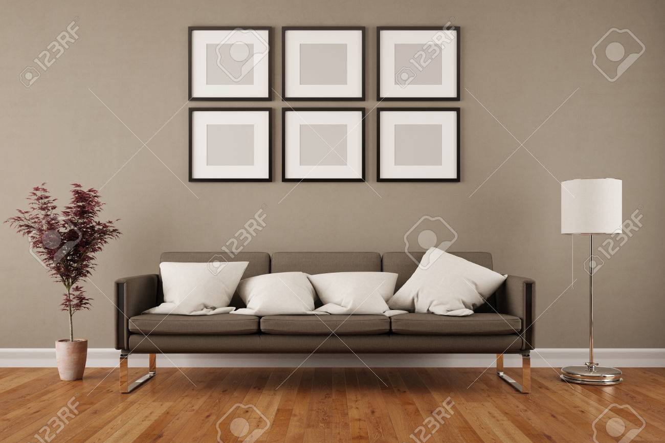 Wall With Six Empty Picture Frames In Living Room Under A Sofa Stock Photo Picture And Royalty Free Image Image 57526810