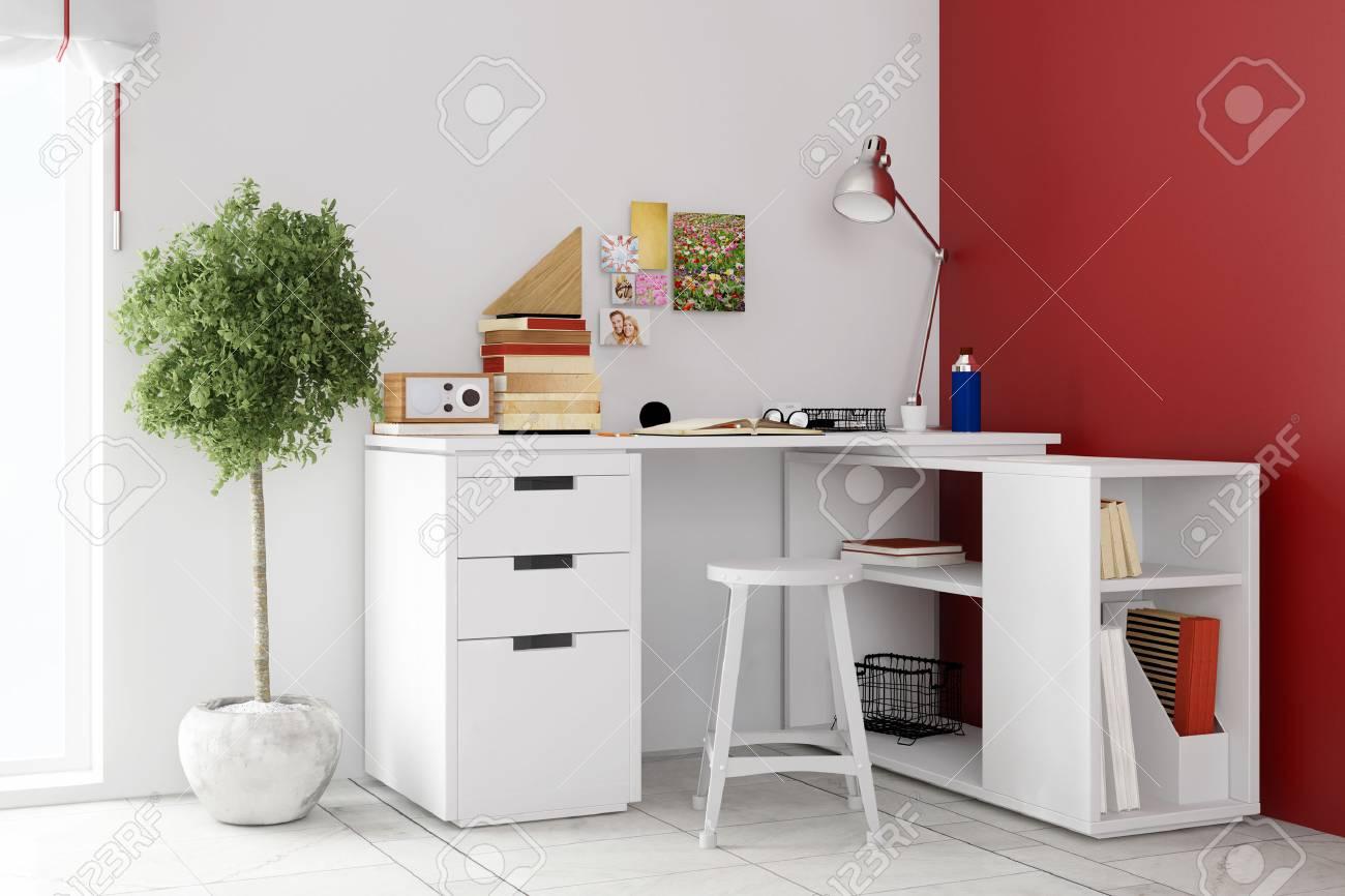 Petit bureau dans le salon pour le bureau à domicile sur un mur
