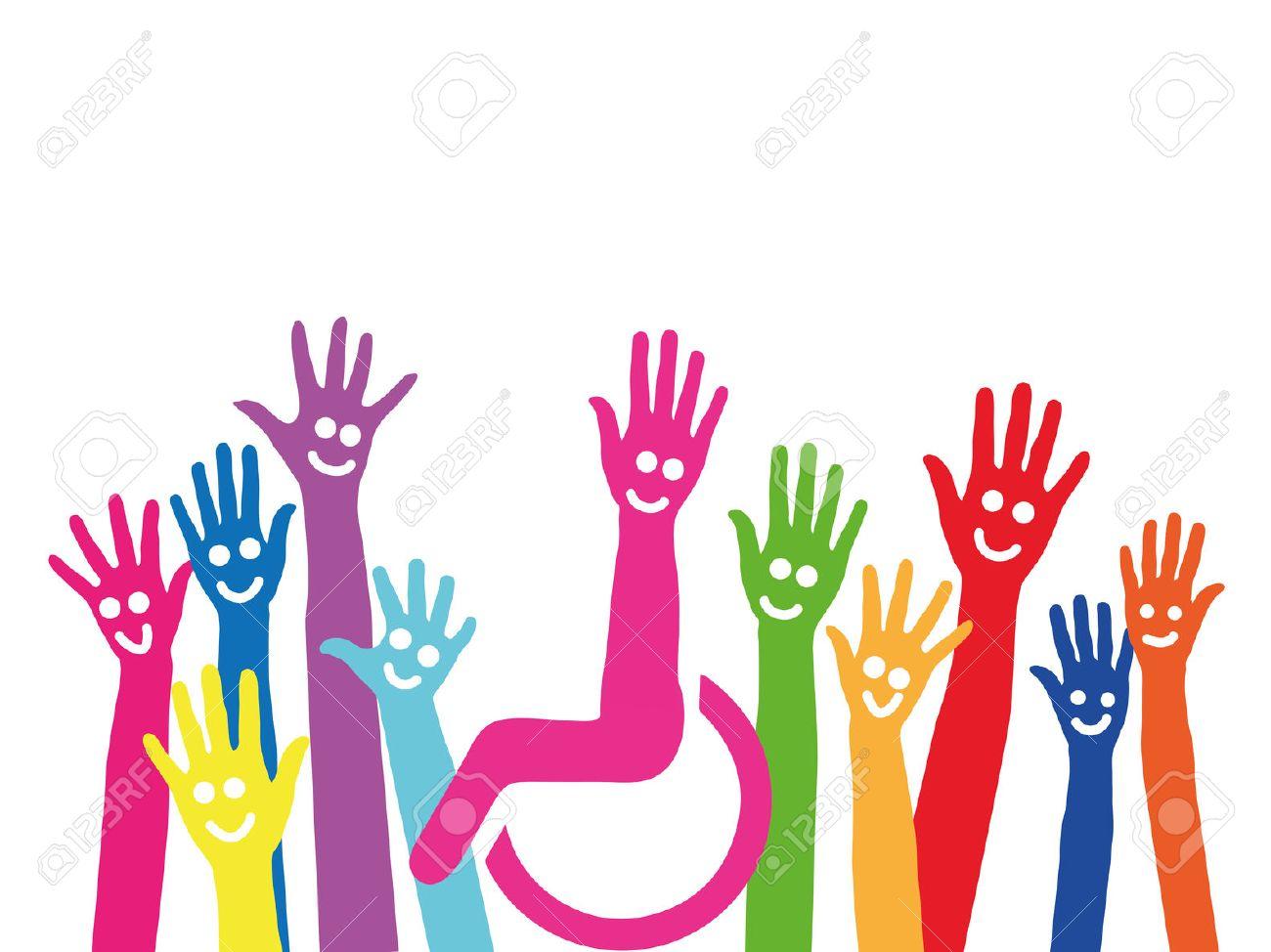 Mains comme un symbole de l'inclusion et de l'intégration en fauteuil roulant au milieu Banque d'images - 57526865