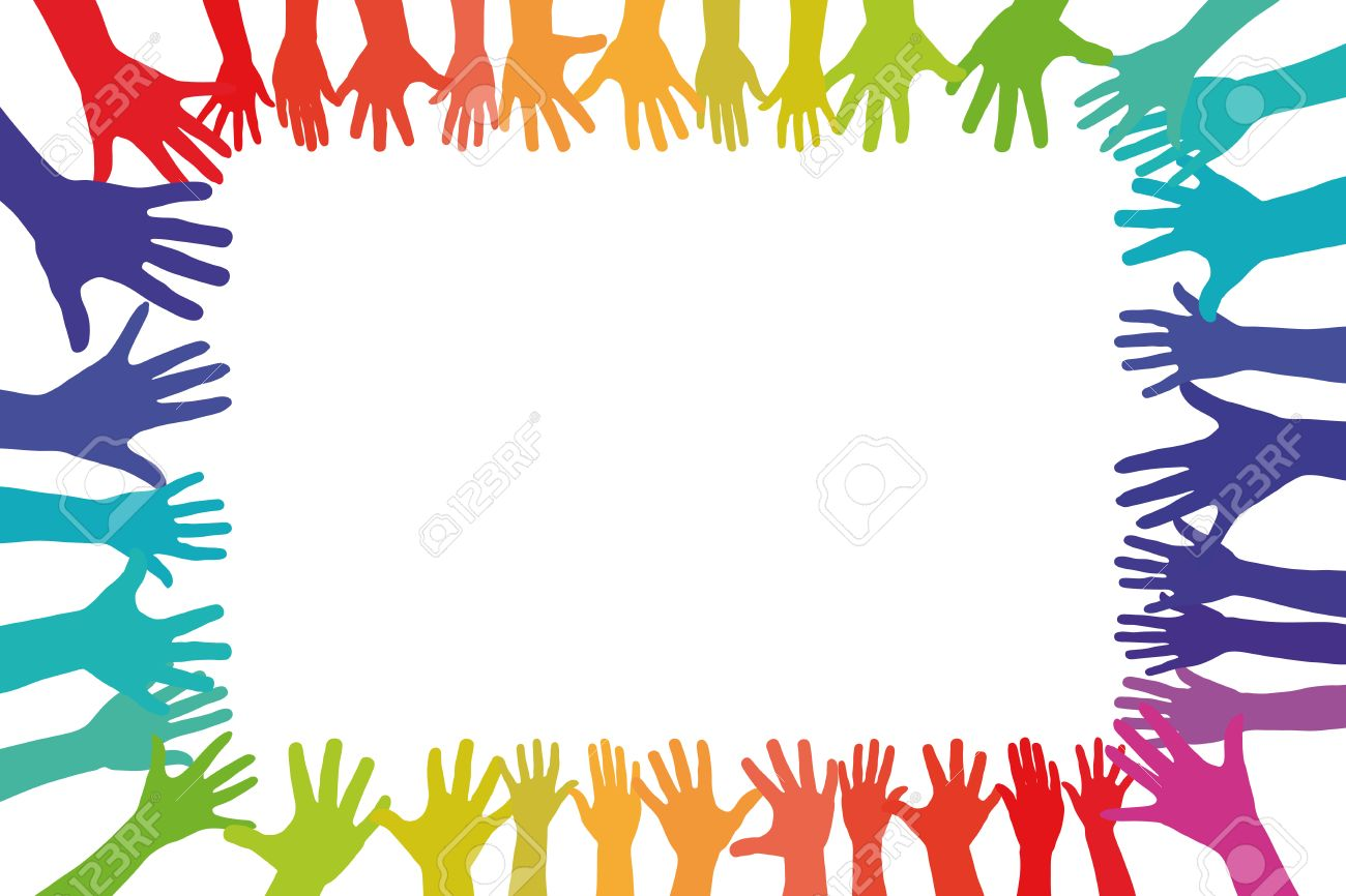 Colorful hands in a frame background as a symbol of tolerance colorful hands in a frame background as a symbol of tolerance and integration stock photo biocorpaavc Image collections