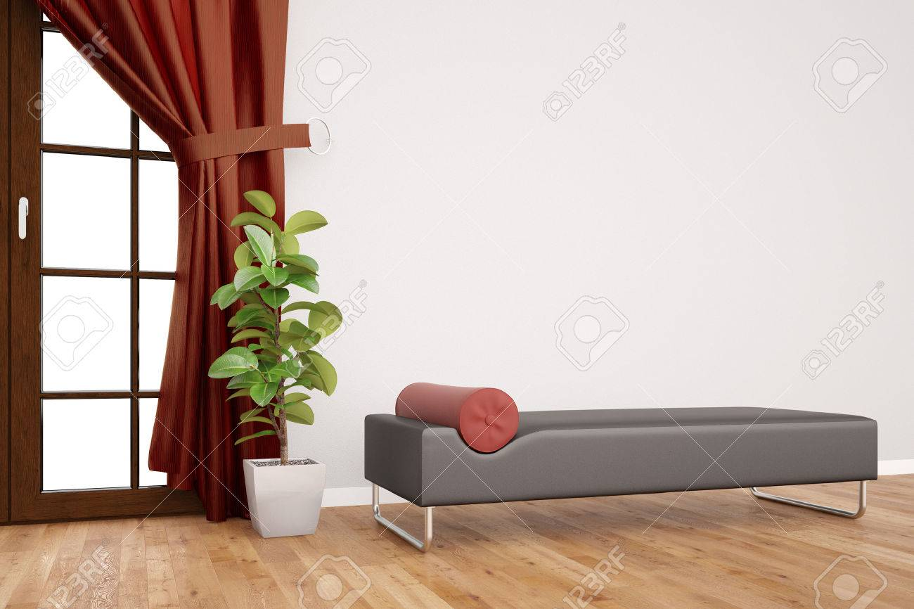 Modern couch in psychotherapy clinic in front of a wall with curtains (3D Rendering) Banque d'images - 58148167