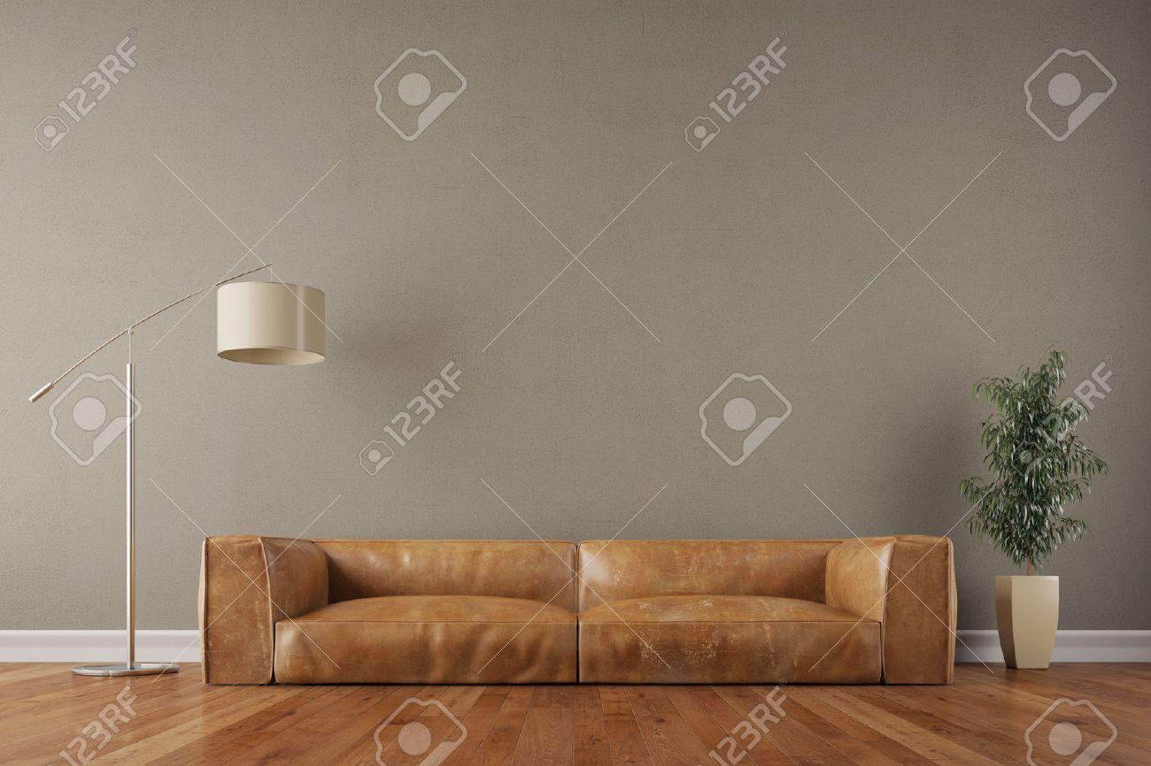 Retro Vintage Sofa Im Wohnzimmer Mit Wand Und Leselampe 3D Rendering Lizenzfreie Bilder