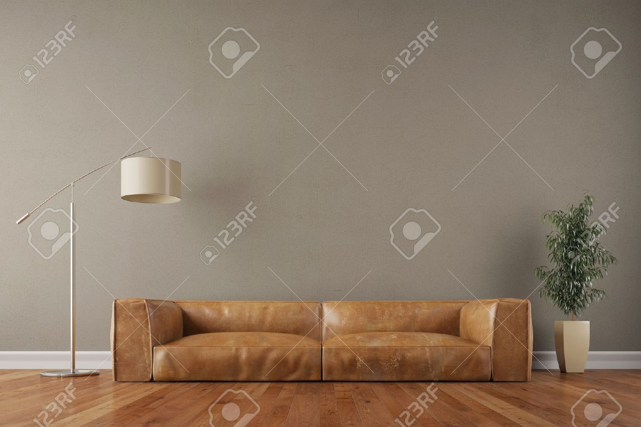 Retro Vintage Sofa In Living Room With Wall And Reading Lamp Stock