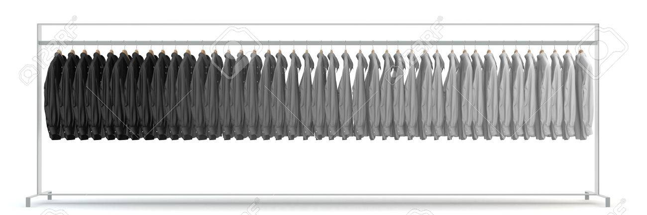 Panorama with many shirts on clothing rack in assorted shades of grey (3D Rendering) - 58112233