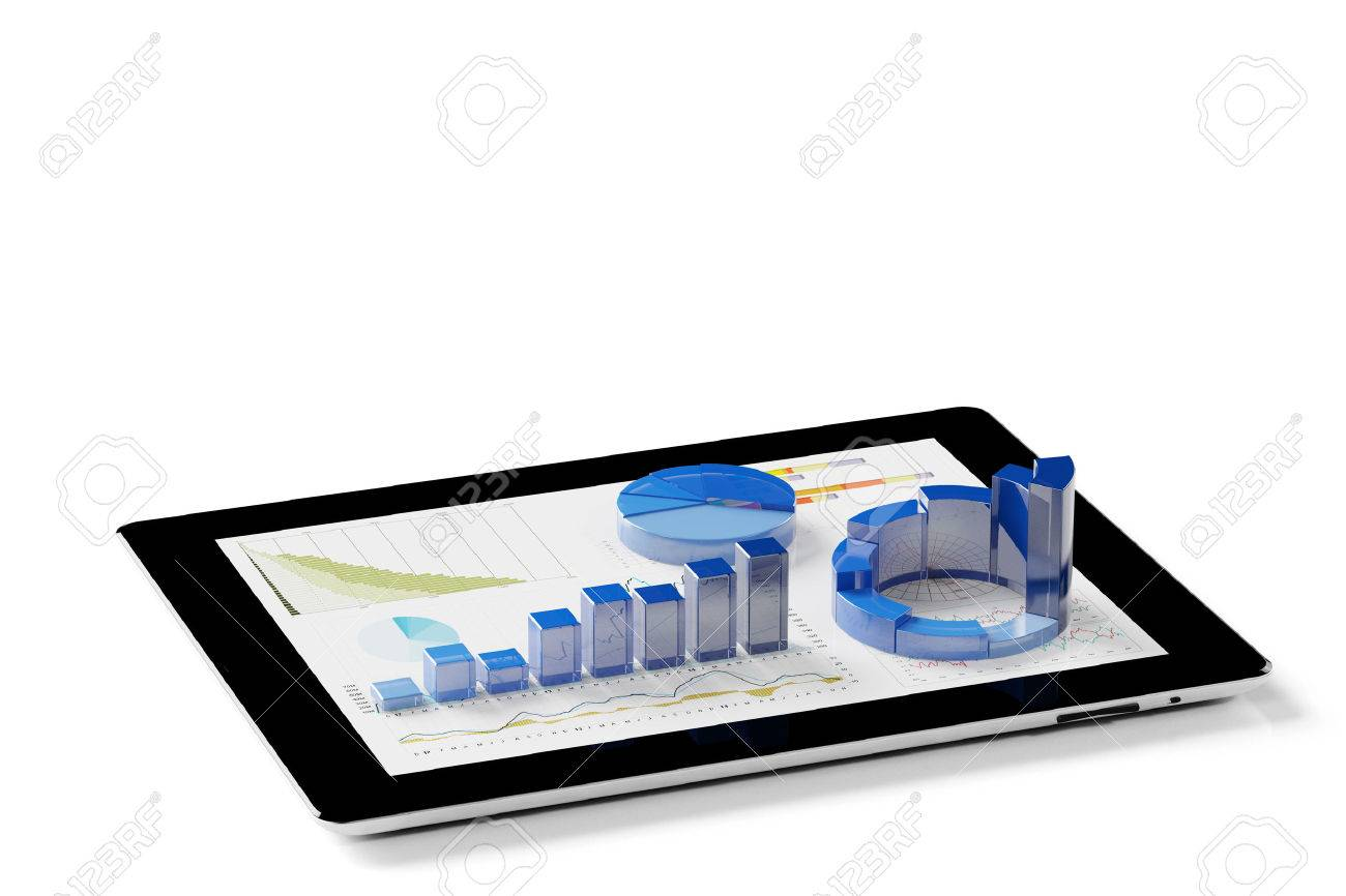 Statistical analysis of financial data with app on tablet PC (3D Rendering) Banque d'images - 58112235