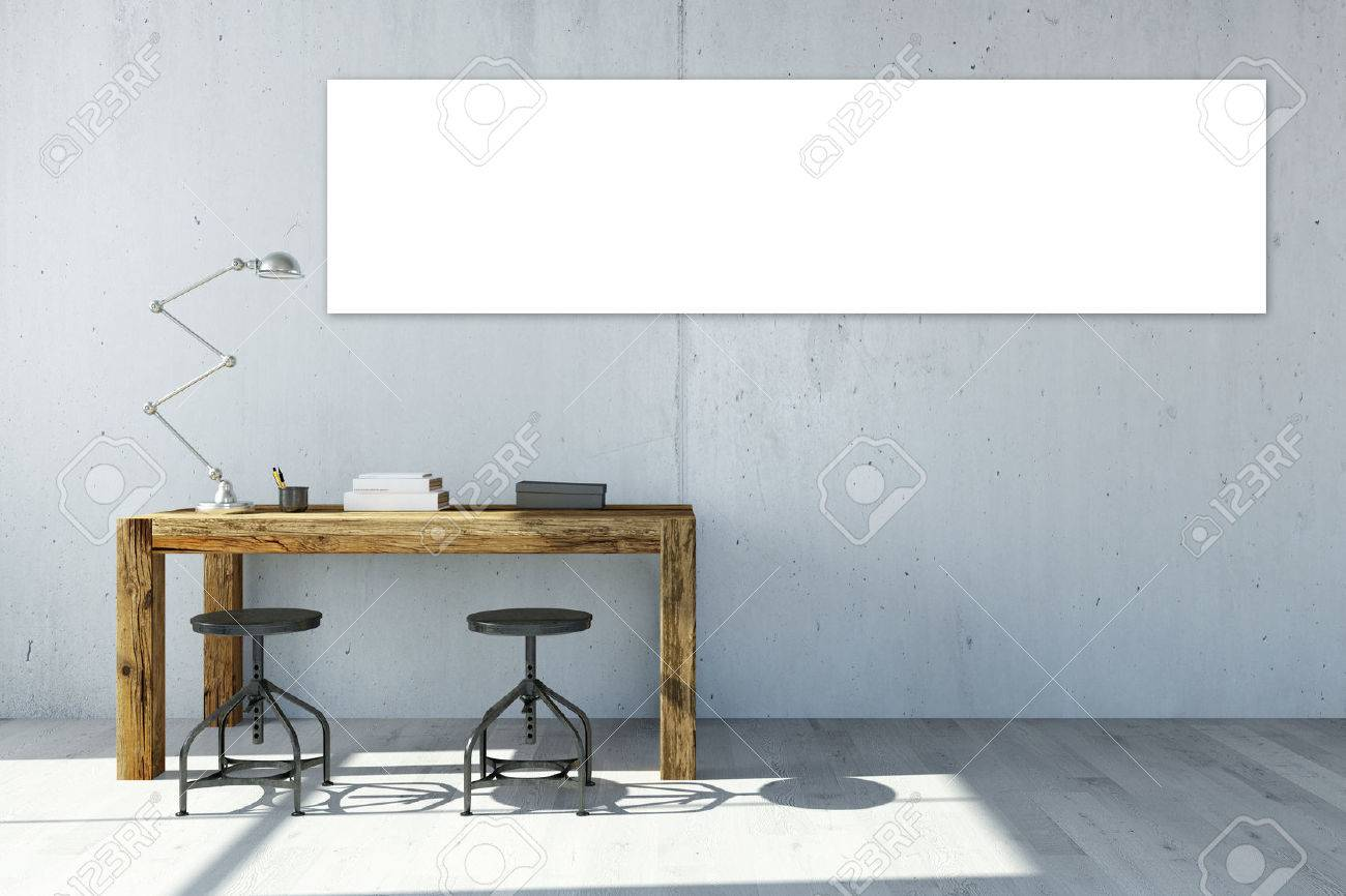 Empty white panorama canvas on office wall over the desk (3D Rendering) Standard-Bild - 58828738