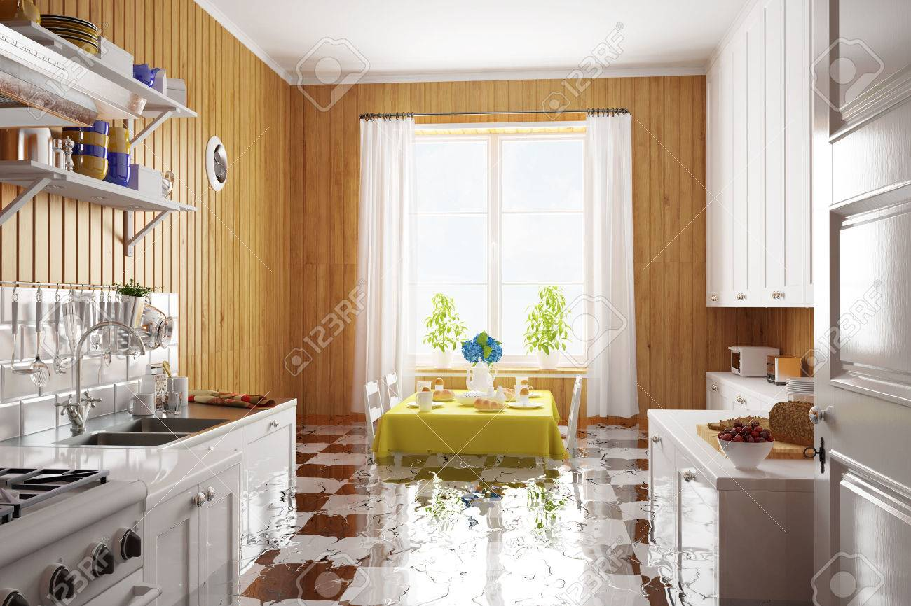 Water damage after flooding in kitchen in a house (3D Rendering) Standard-Bild - 58828742