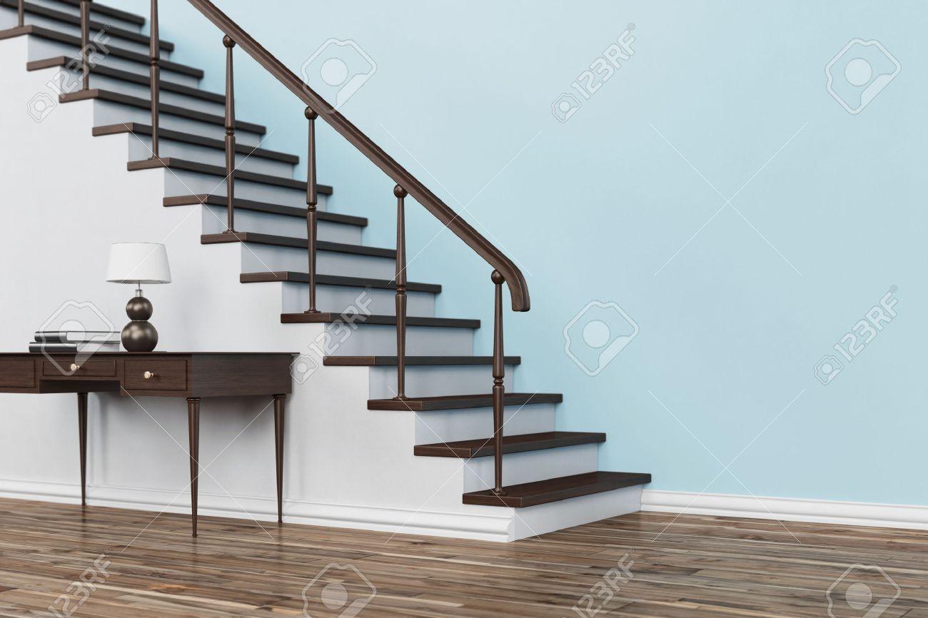 escalera de madera clsica con las escaleras en casa con el vector y pasamanos d