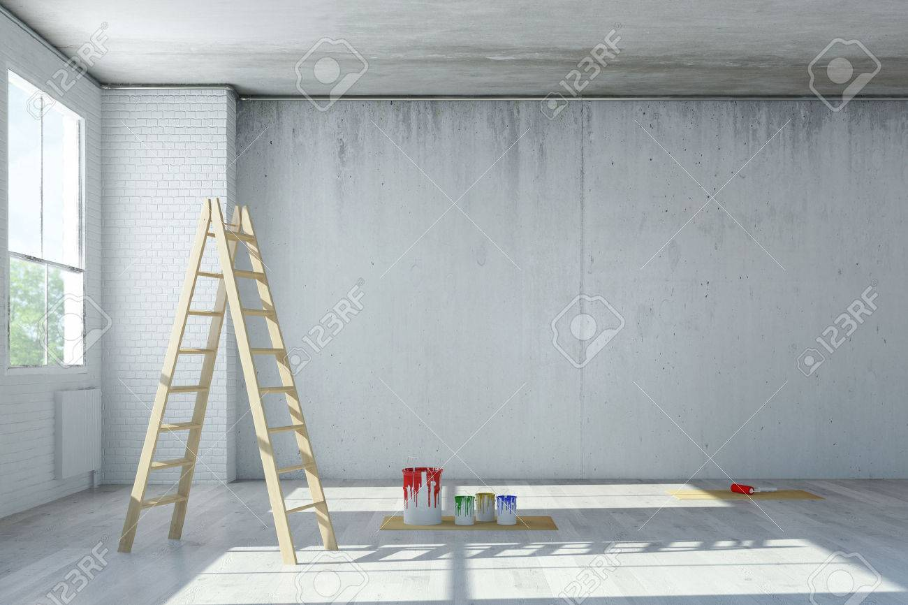 Renovation Of Office Space In A Loft With Ladder And Paint Cans (3D  Rendering)
