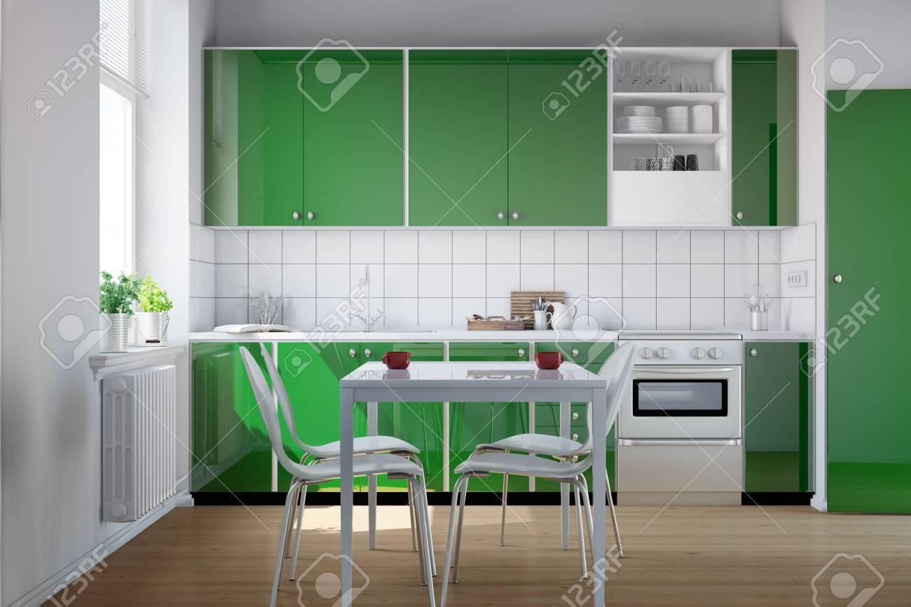 Cocina Verde En Una Pequeña Cocina Con Mesa Y Sillas (3D) Fotos ...