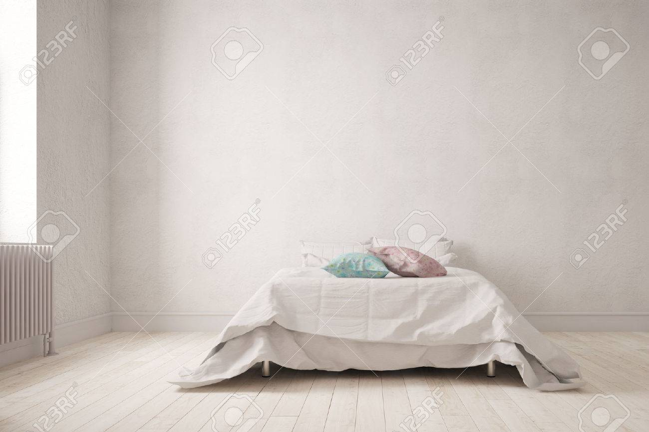 Simple bedroom with a big double bed on the wall 3d rendering simple bedroom with a big double bed on the wall 3d rendering stock photo amipublicfo Choice Image