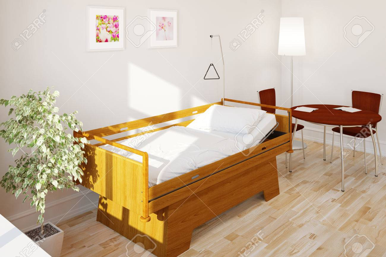 Empty Clean Care Bed In Nursing Home In A Hospital (3D Rendering ...