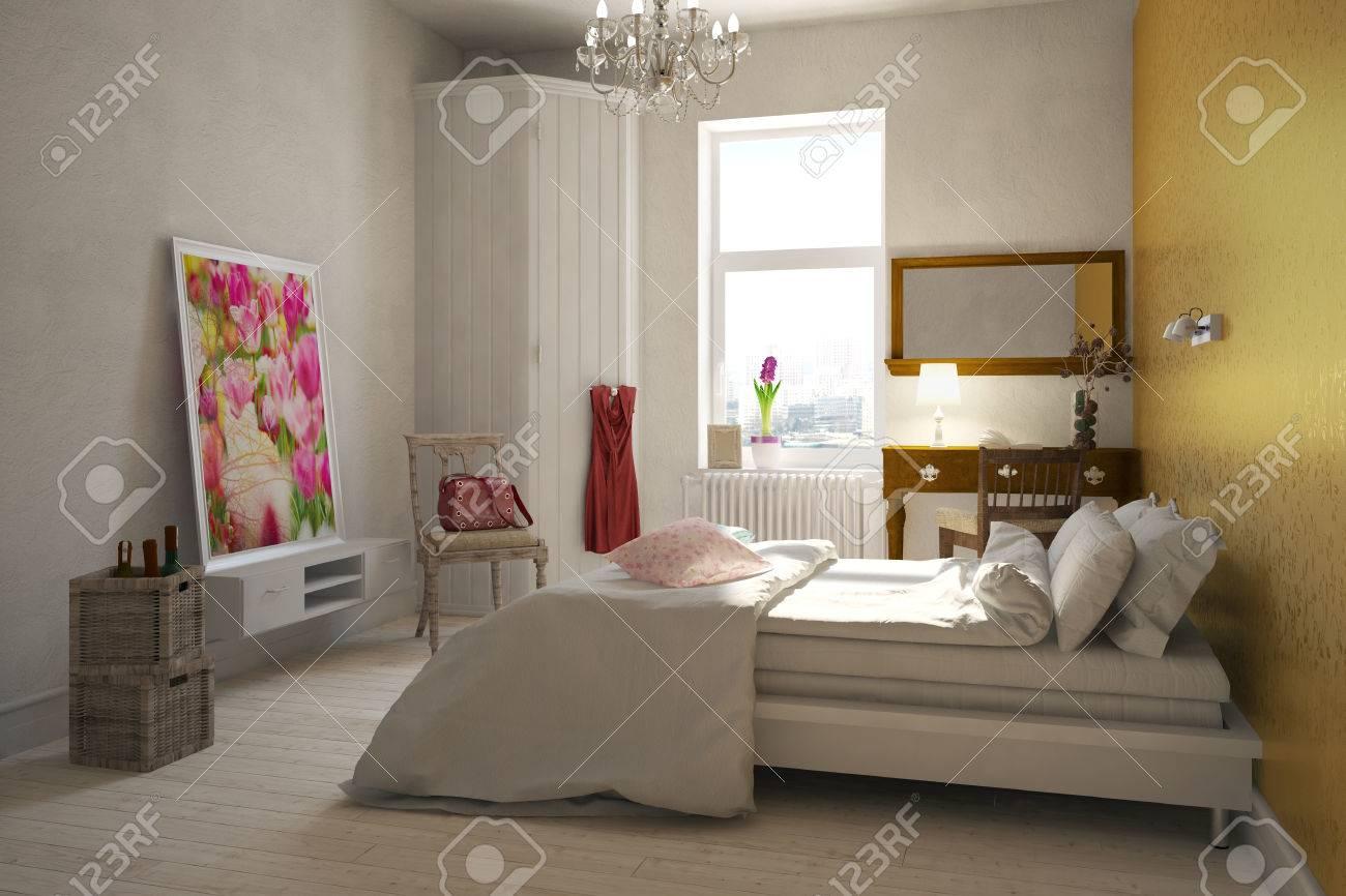 Chambre femme élégante d une femme avec un lit double et un bureau