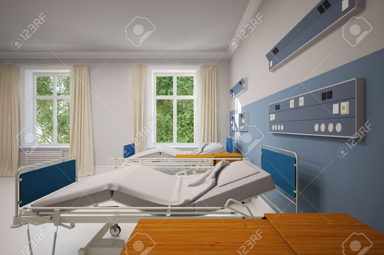 Chambre Double Dans Un Hôpital Avec Deux Lits Vides (rendu 3D ...