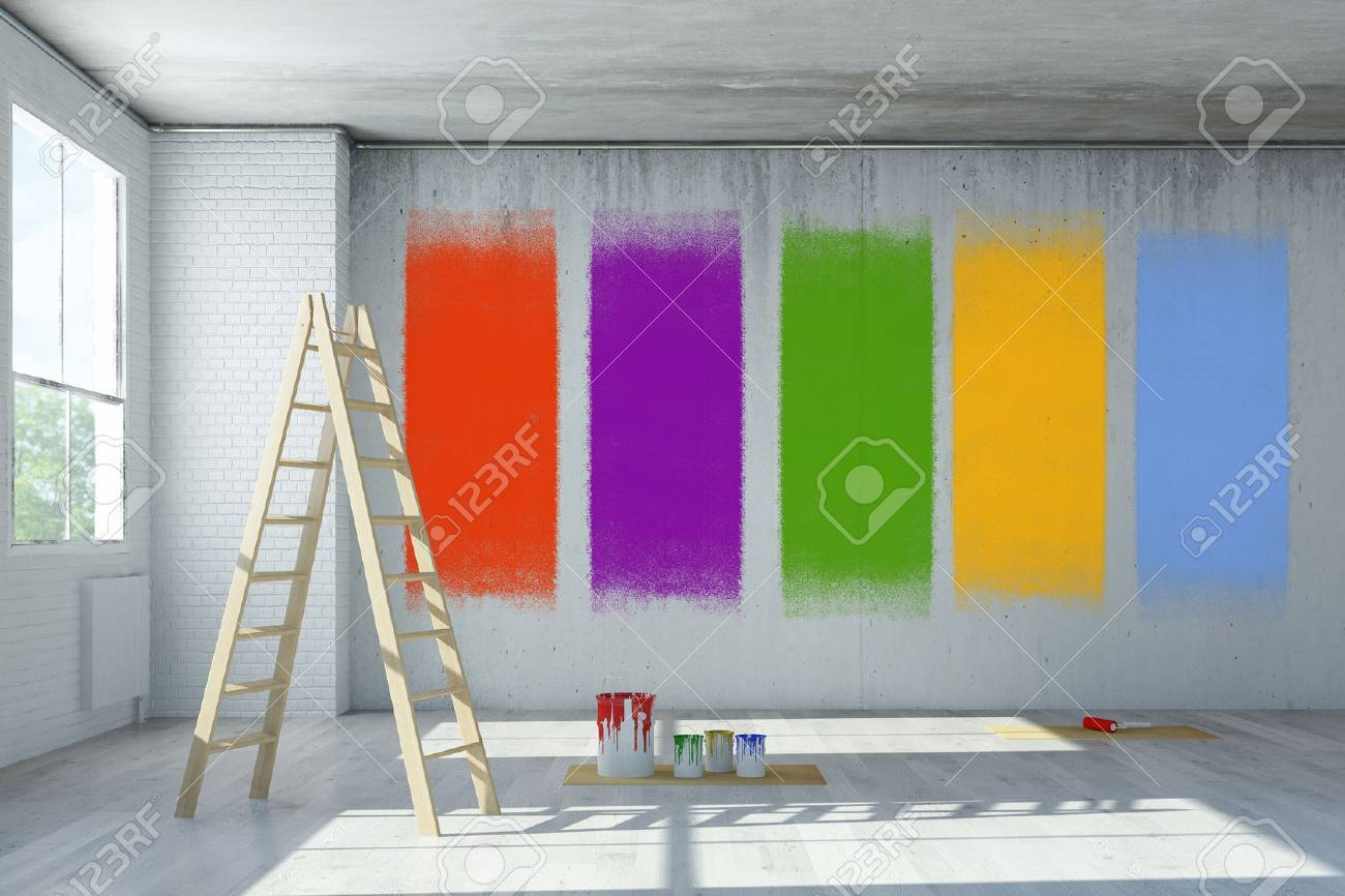 Wall color selection during renovation in a room (3D Rendering) - 58910437